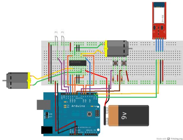 Circuito de controle dos motores com CI L293D - Circuito de transição com botões e com bluetooth.